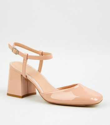 Nude Patent Leather-Look Block Heels