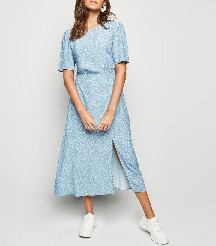 88656fbebe96 Blue Ditsy Floral Split Midi Dress | New Look