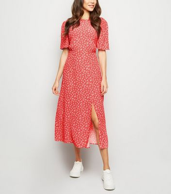 Red Ditsy Floral Split Midi Dress