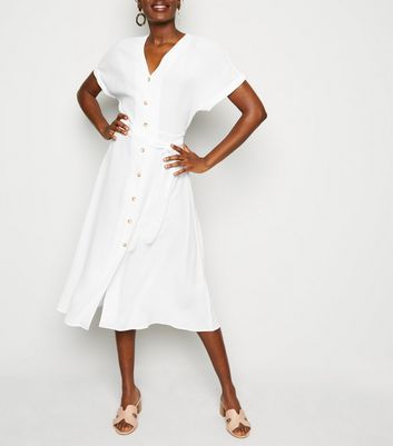 White Button Up Tie Waist Midi Dress