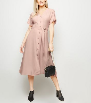 Pink Button Front Tie Waist Midi Dress