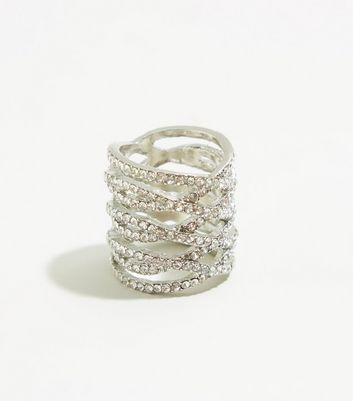 Silver Premium Diamanté Lattice Ring