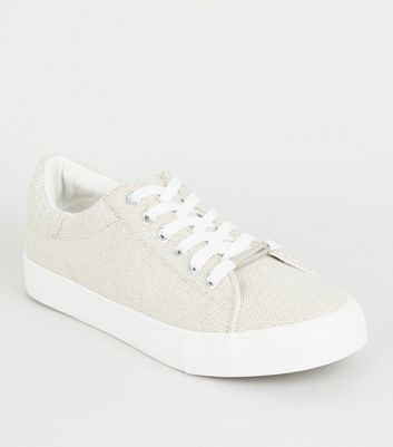 Off White Woven Canvas Lace-up Trainers