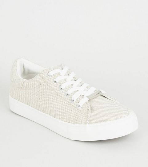 3688d9a7d5f3 ... Off White Woven Canvas Lace-up Trainers ...