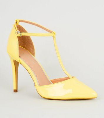Yellow Patent T-Bar Pointed Court Shoes