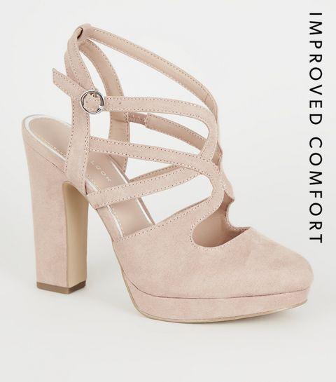1bf5fdd65fe ... Nude Suedette Strappy Platform Block Heels ...
