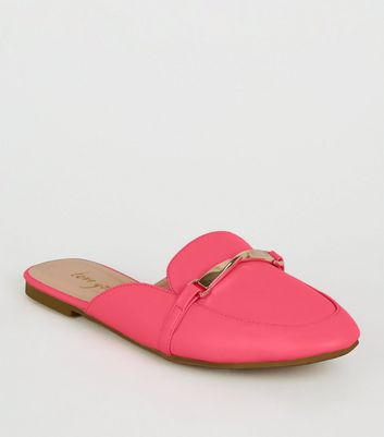 Bright Pink Neon Loafer Mules