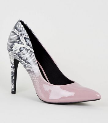 Lilac Snake Print Ombré Heel Court Shoes