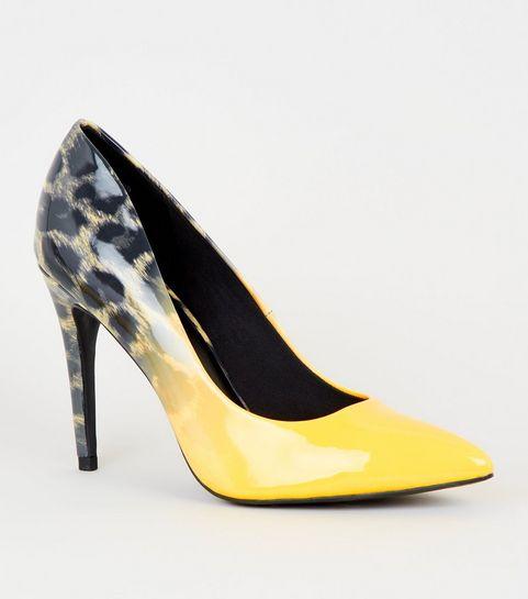 0cc27787c1 ... Yellow Leopard Print Obmré Heel Court Shoes ...