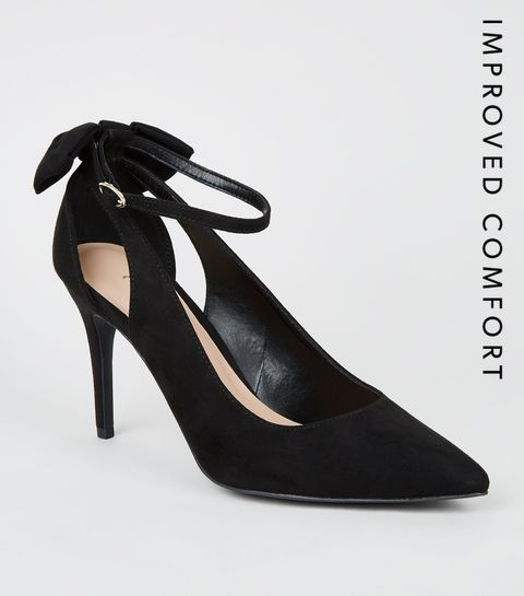 b3716814c0e ... Black Suedette Bow Back Pointed Heels ...
