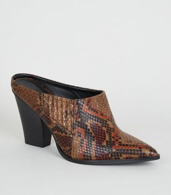 Brown Faux Snake Pointed Western Mules