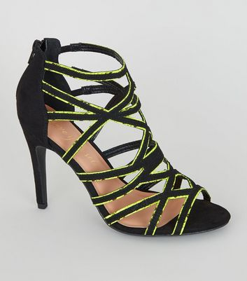 Yellow Neon Faux Snake Trim Stilettos
