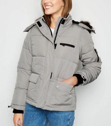 Pale Grey Faux Fur Short Puffer Jacket