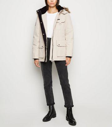 Stone Faux Fur Parka Coat