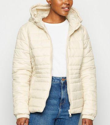 White Hooded Lightweight Puffer Jacket
