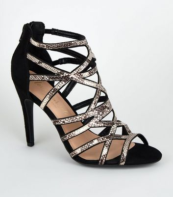 Black Faux Snake Caged Cross Strap Heels