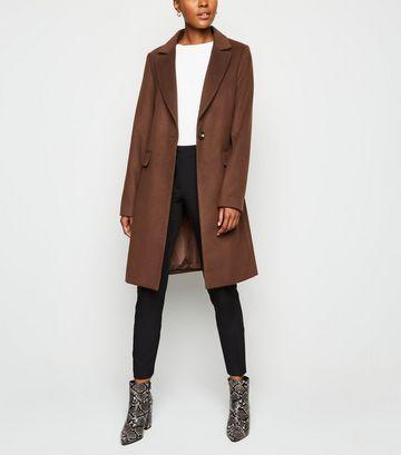 Dark Brown Revere Collar Coat
