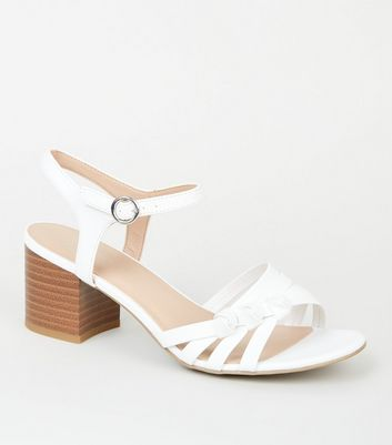 Wide Fit White Knot Strap Sandals   New