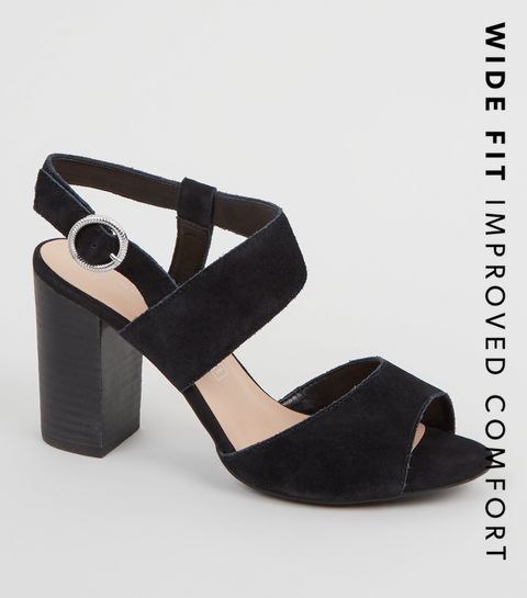 331a45101ec ... Wide Fit Black Suede Strap Block Heels ...