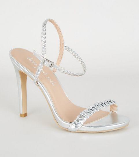 c99d942c1 ... Silver Metallic Plait Strap Heels ...