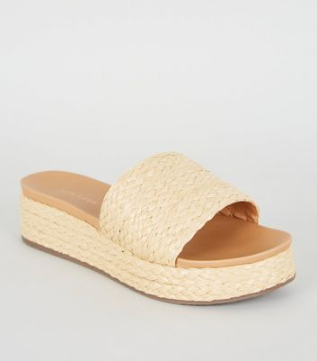 Cream Woven Flatform Sliders