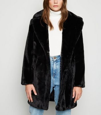Black Faux Fur Longline Coat