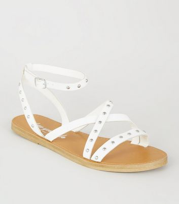 White Leather-Look Studded Gladiator Sandals