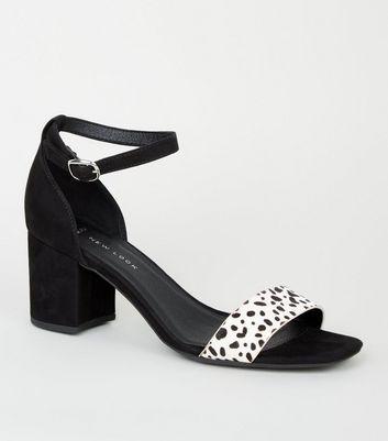 Black Animal Print 2 Part Block Heels