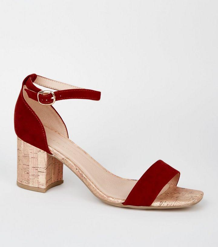 938ab3985a3 Wide Fit Rust Cork Block Heel Sandals