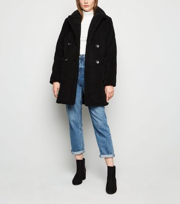 Black  Double Breasted Longline Teddy Coat