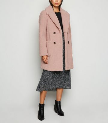 Pale Pink Double Breasted Longline Teddy Coat