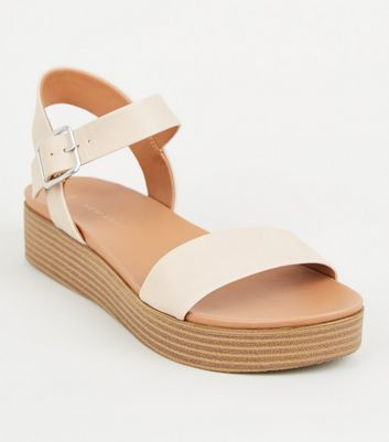Nude Leather-Look Flatform Footbed Sandals
