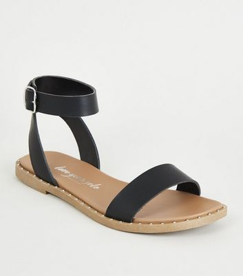 Black Leather-Look Studded Sole Footbed Sandals