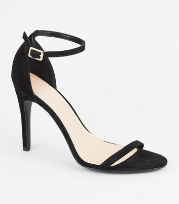 Black Suedette Strappy 2 Part Heels