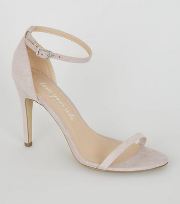 Lilac Suedette Strappy 2 Part Heels