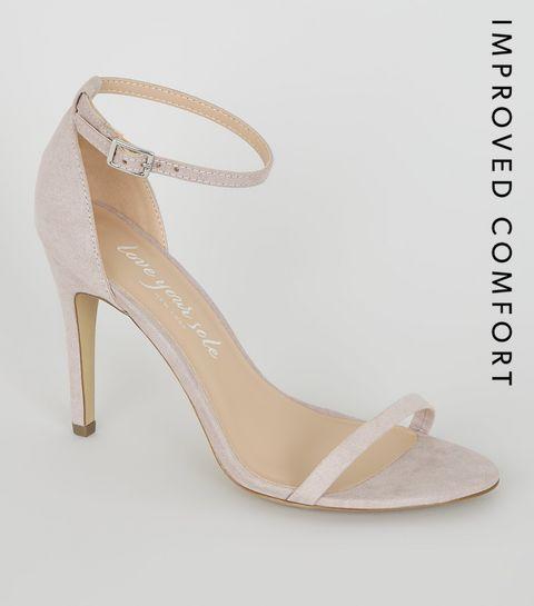 bdcc493bac ... Lilac Suedette Strappy 2 Part Heels ...