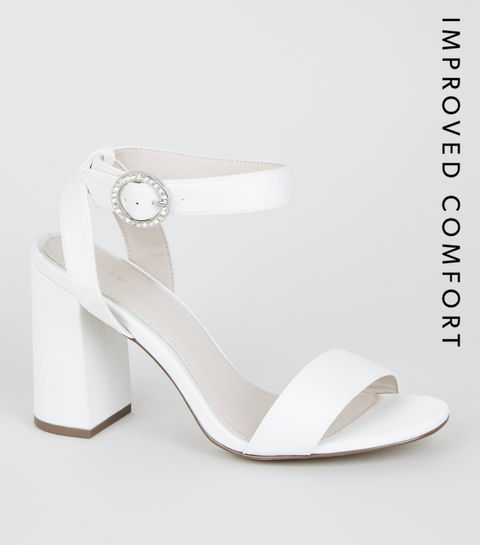 a7fc736404b2e9 ... White Satin Diamanté Buckle Block Heels ...
