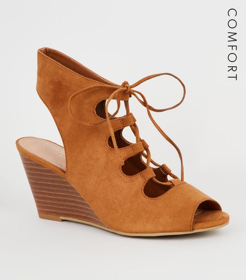 63322911a22a ... Tan Suedette Ghillie Lace Up Wedge Sandals ...