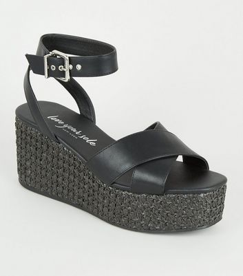 Black Cross Strap Woven Flatform Sandals
