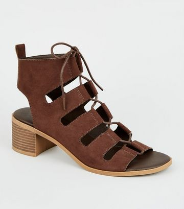Brown Ghillie Lace Up Low Heel Sandals