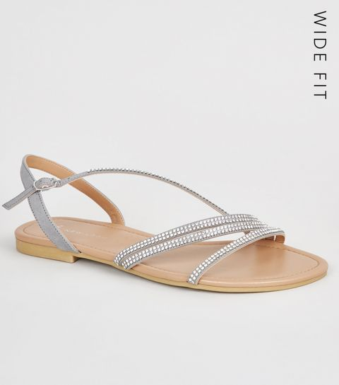 39d85593ca3 ... Wide Fit Grey Diamanté Strappy Sandals ...