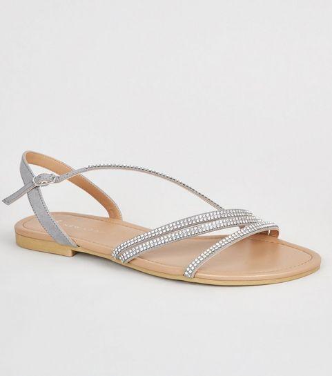 e0d4c6930e69 ... Wide Fit Grey Diamanté Strappy Sandals ...