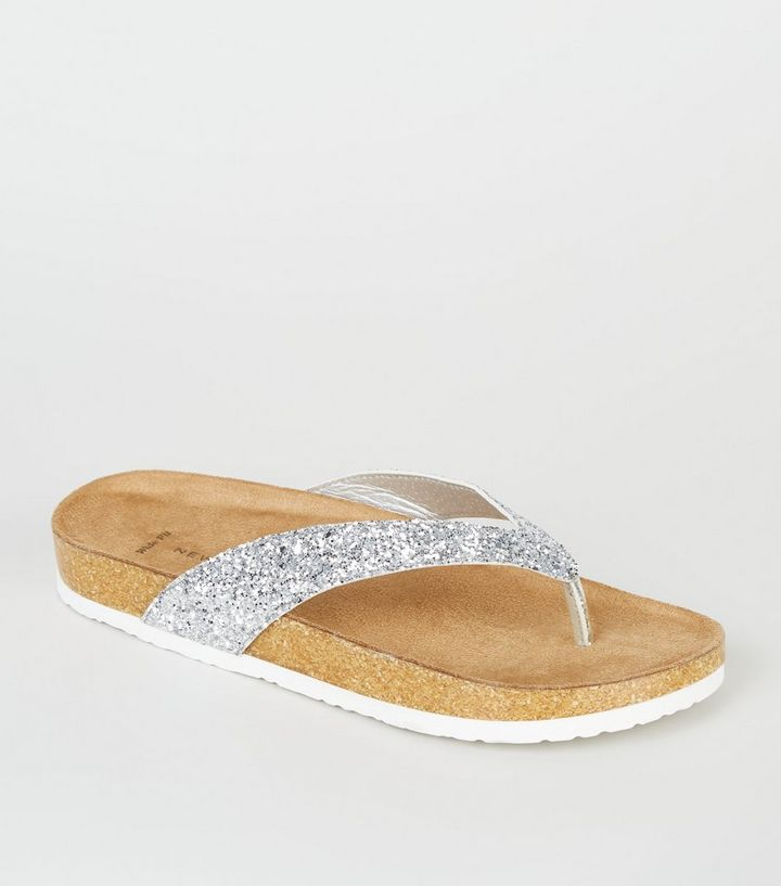newest 3a26b 6646e Wide Fit Silver Glitter Footbed Flip Flops Add to Saved Items Remove from  Saved Items