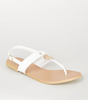 Wide Fit White Hammered Ring Sandals