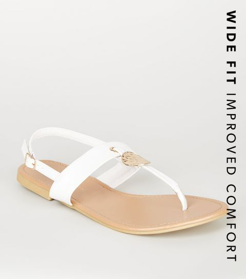 7359a102b07a0 ... Wide Fit White Hammered Ring Sandals ...