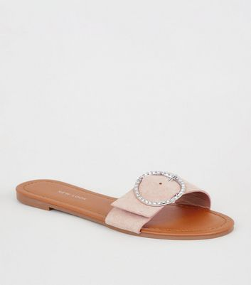 Wide Fit Nude Diamanté Buckle Sliders
