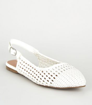 Wide Fit White Leather-Look Woven Slingbacks