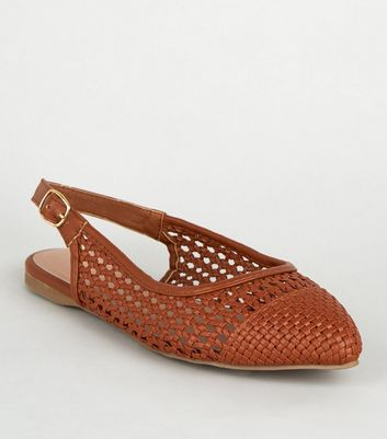 Wide Fit Tan Leather-Look Woven Slingbacks