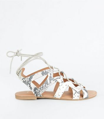 Wide Fit Stone Faux Snake Ghillie Sandals
