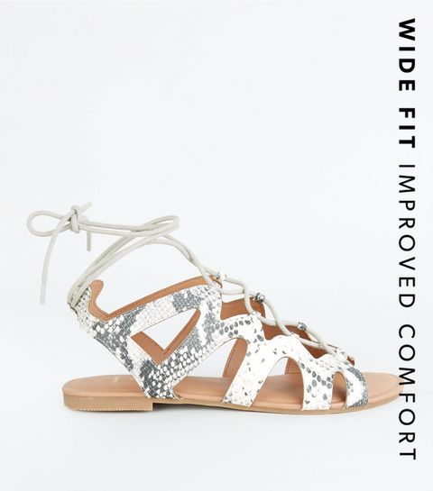 0426cbfeb8f ... Wide Fit Stone Faux Snake Ghillie Sandals ...